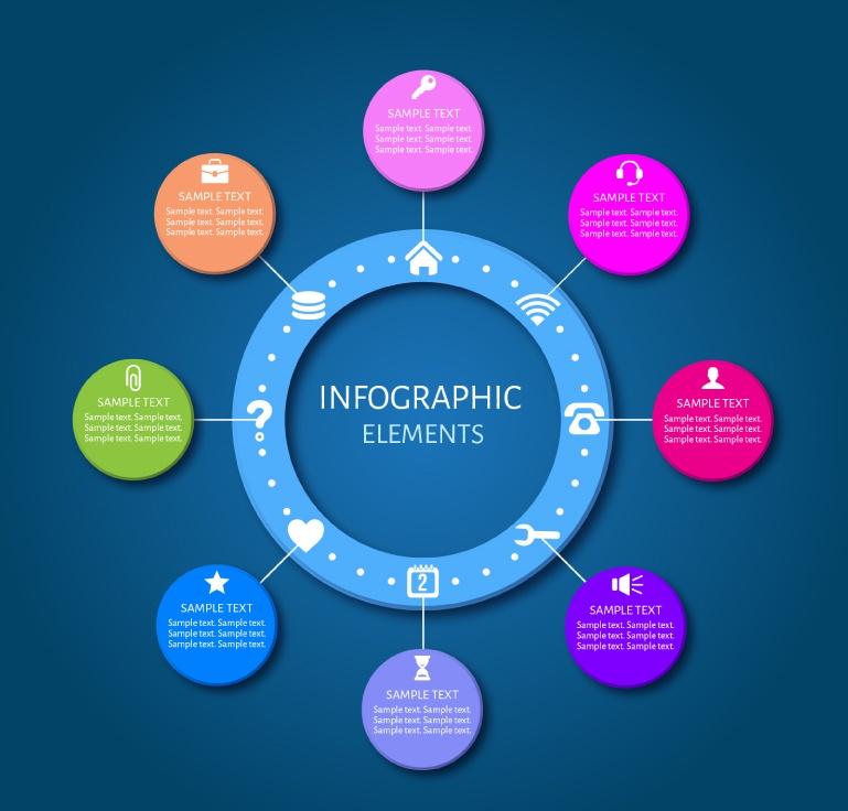 Business information circular color map vector material