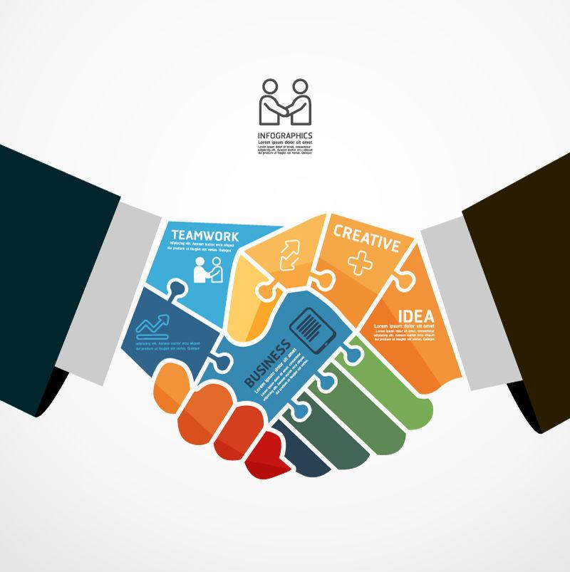 Business teamwork information map vector material