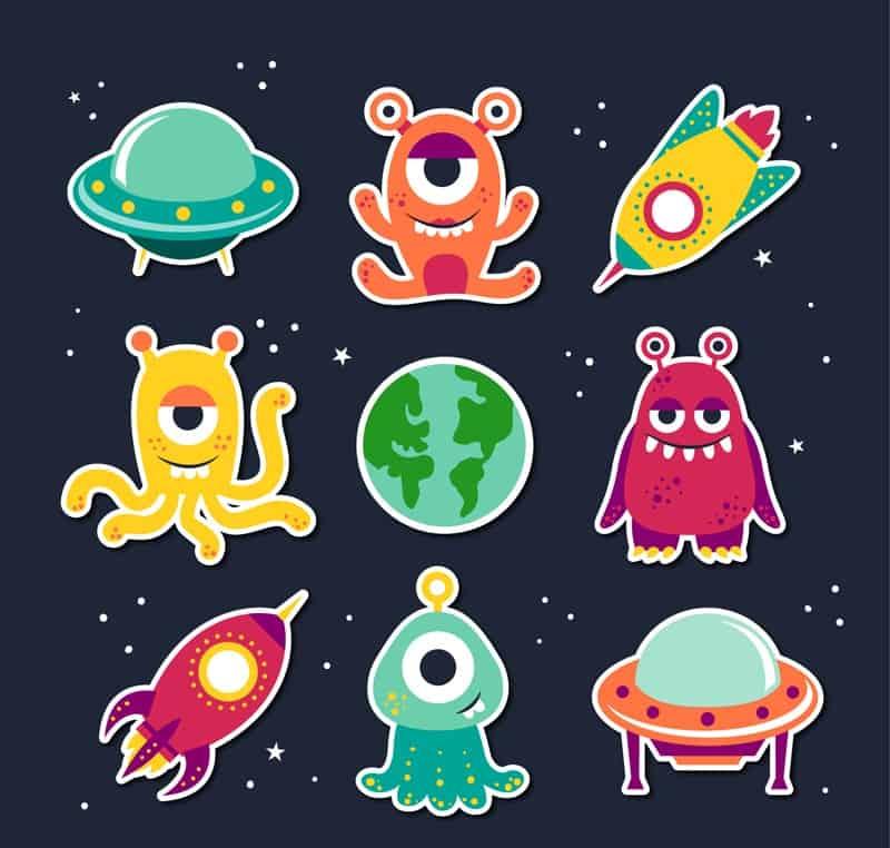 9 cartoon aliens and UFO