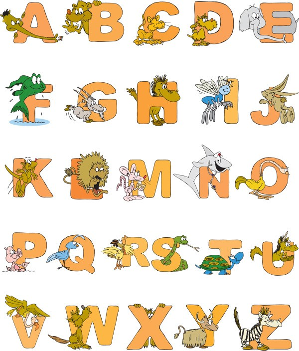 Cartoon animals letters