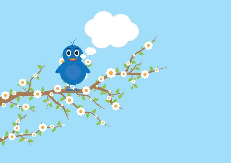 Cartoon bird flowers vector material