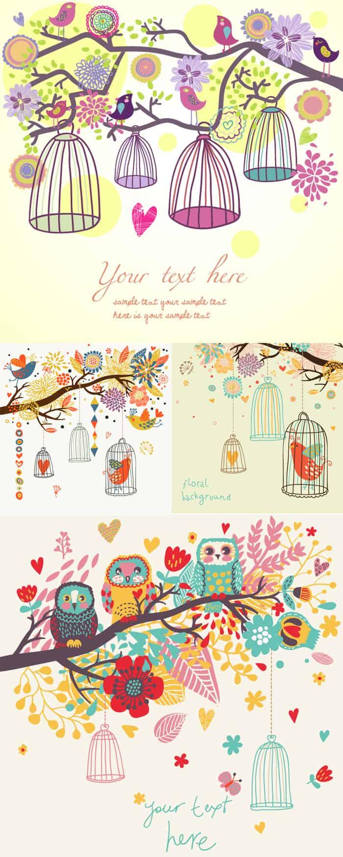 Cartoon bird illustrator vector material Vector