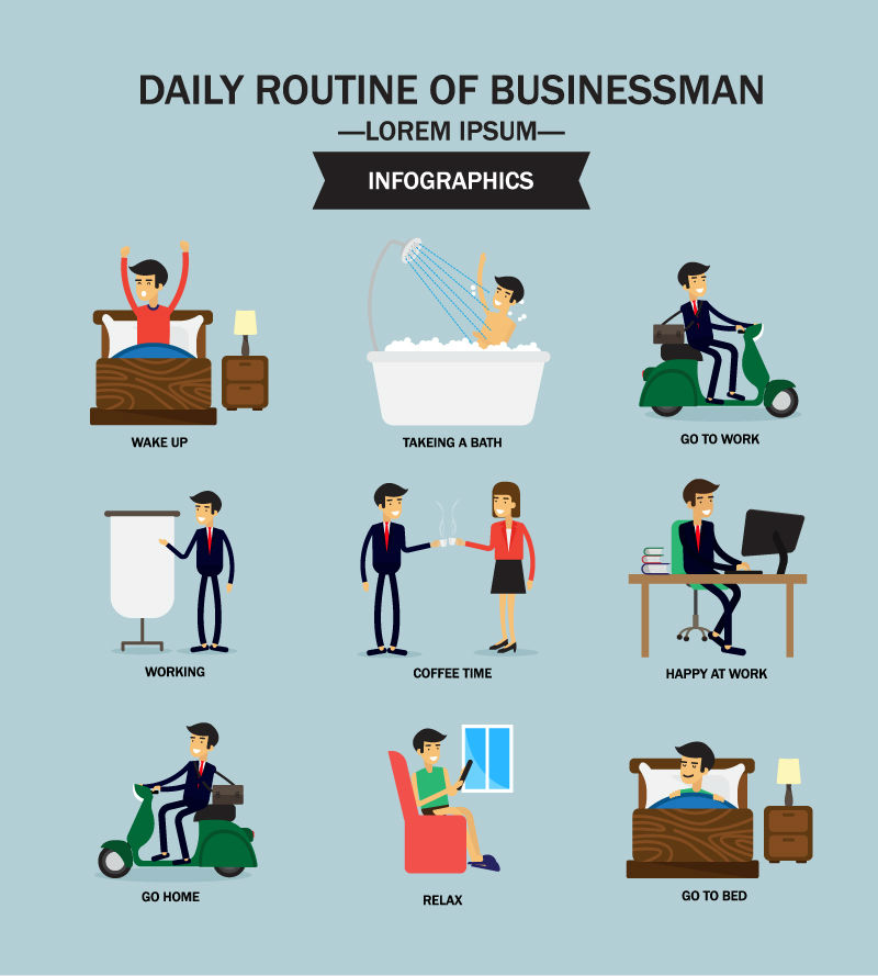 Cartoon business man day vector material