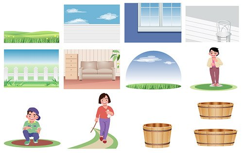 Cartoon characters and scenery material vector illustrations