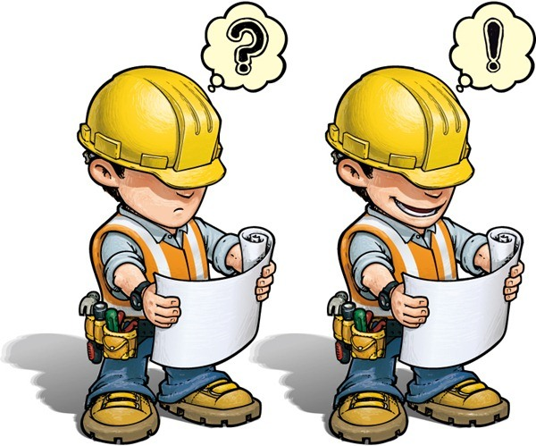 2 cartoon construction workers vector graphics