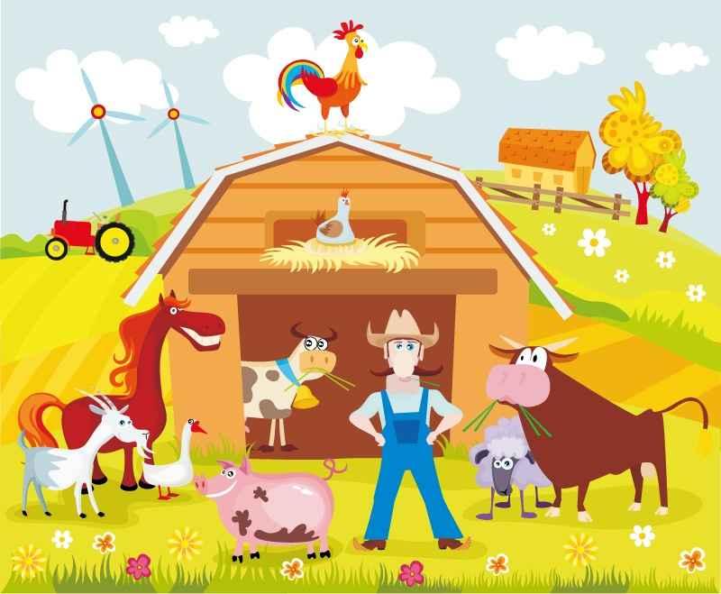 Cartoon farm estate vector material