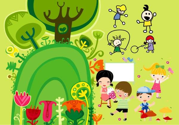 Cartoon illustrator of children playing Vector