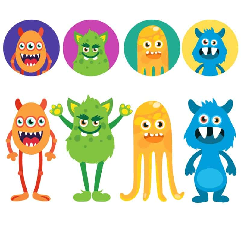 8 cartoon monster head design and vector material