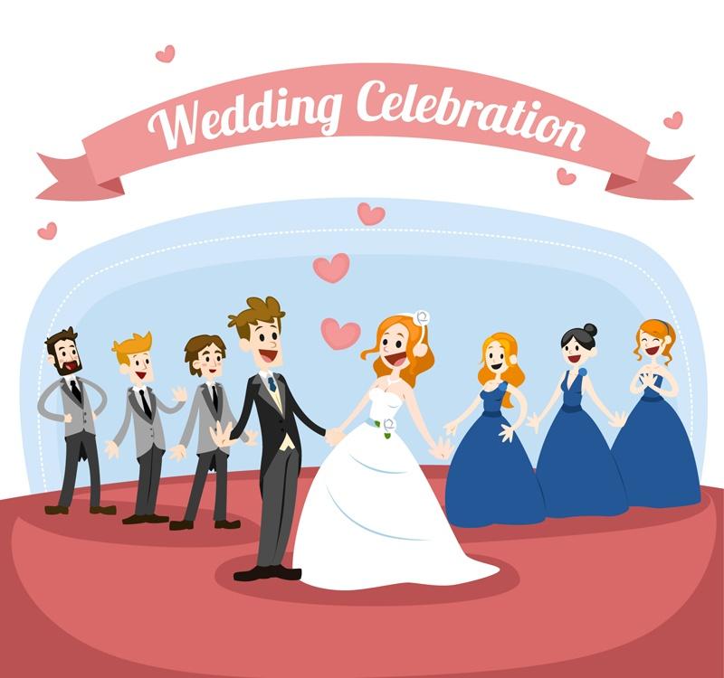 Cartoon wedding couple vector material