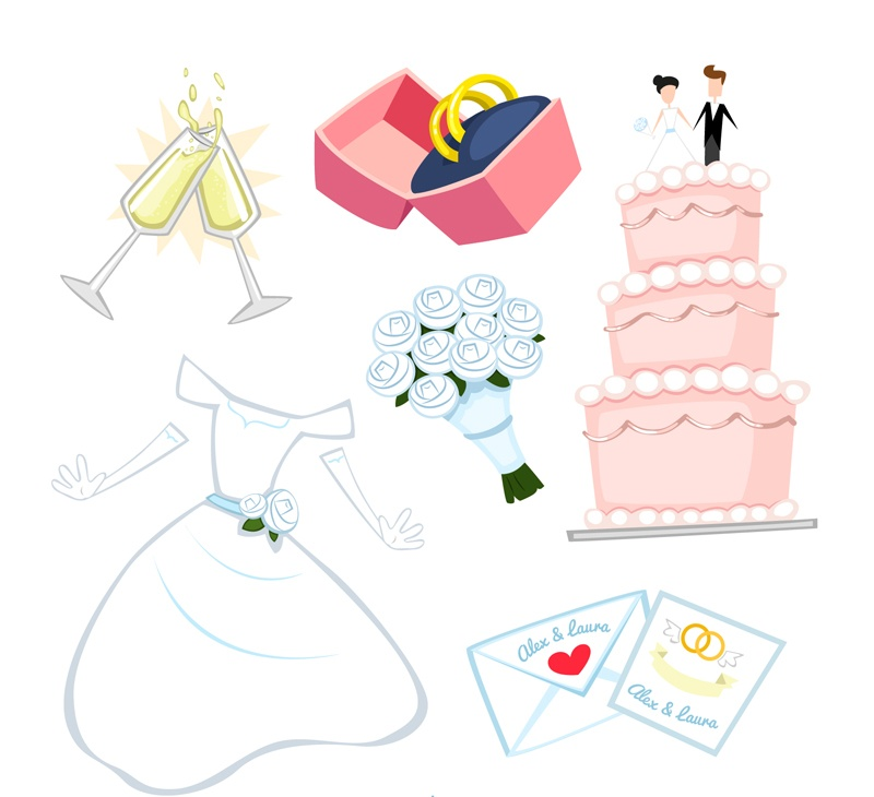 6 cartoon wedding elements vector encyclopedia of life