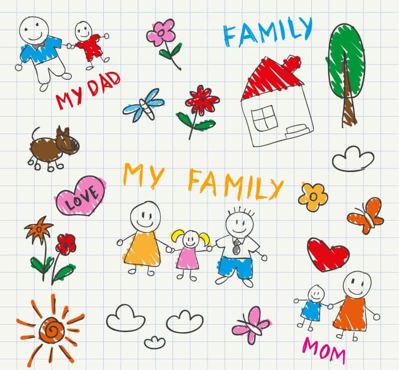 Children painted style vector illustration Family