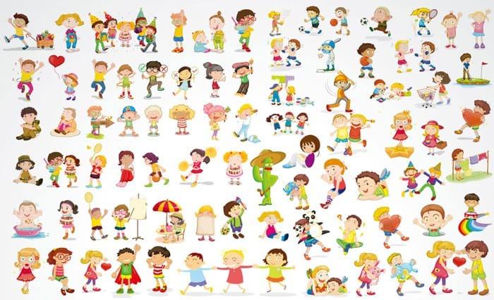 Children's cartoon children vector material
