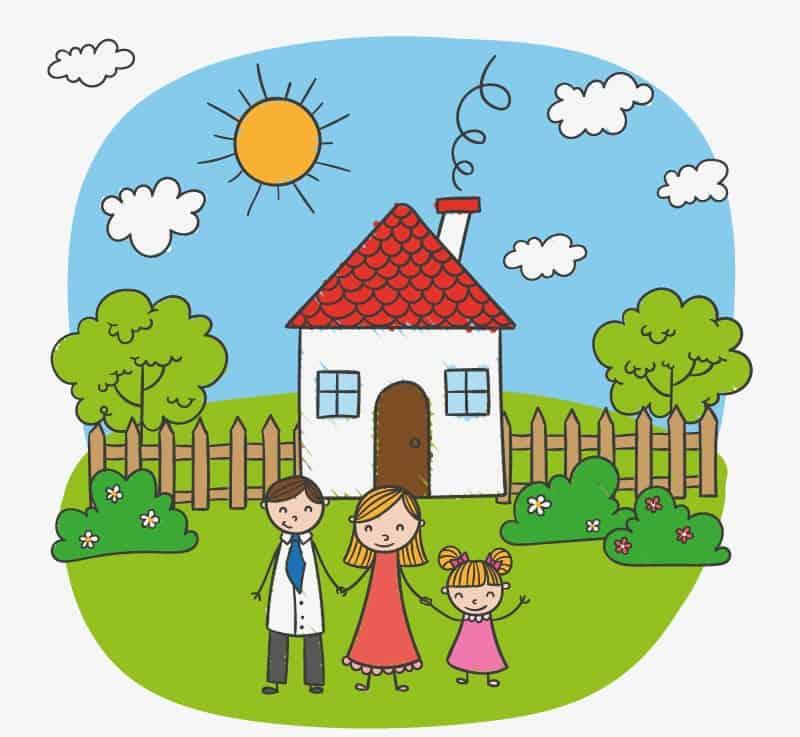 Children's cartoon family illustrator vector material