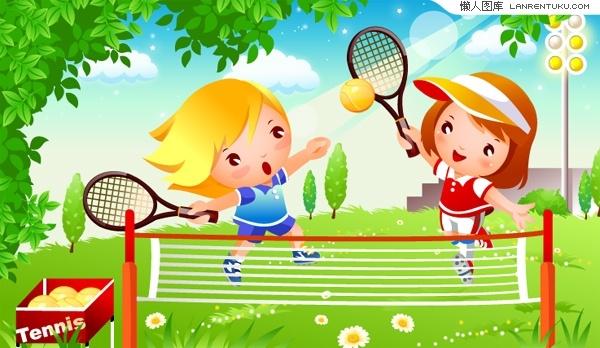 Children's cartoon tennis vector material
