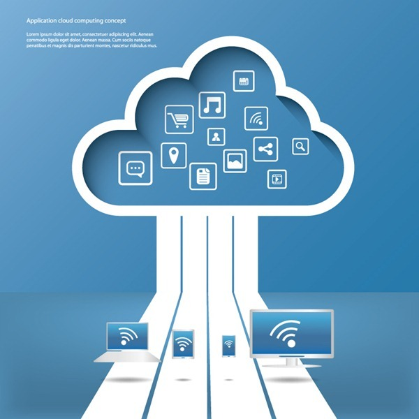 Cloud service application background vector graphics