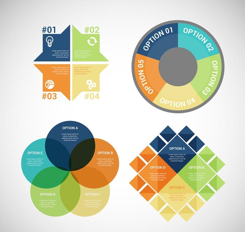 4 color business information map vector design