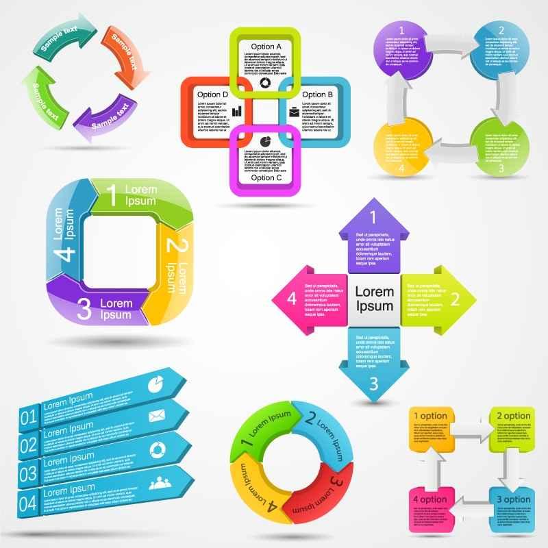 8 color information map vector material label design