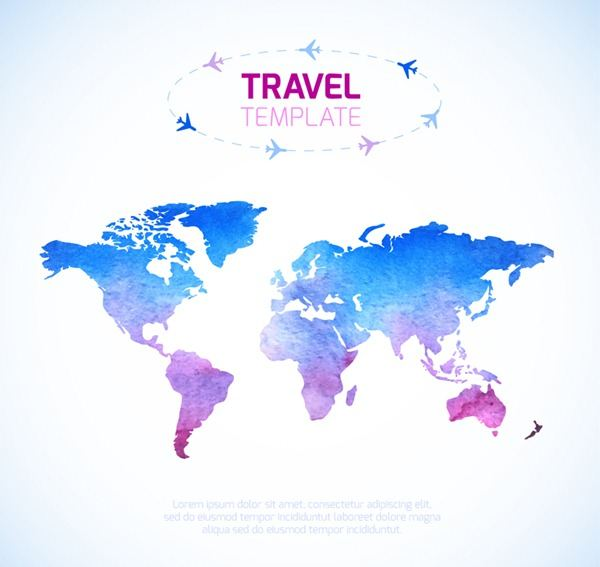 Color Universal Travel world map vector graphics