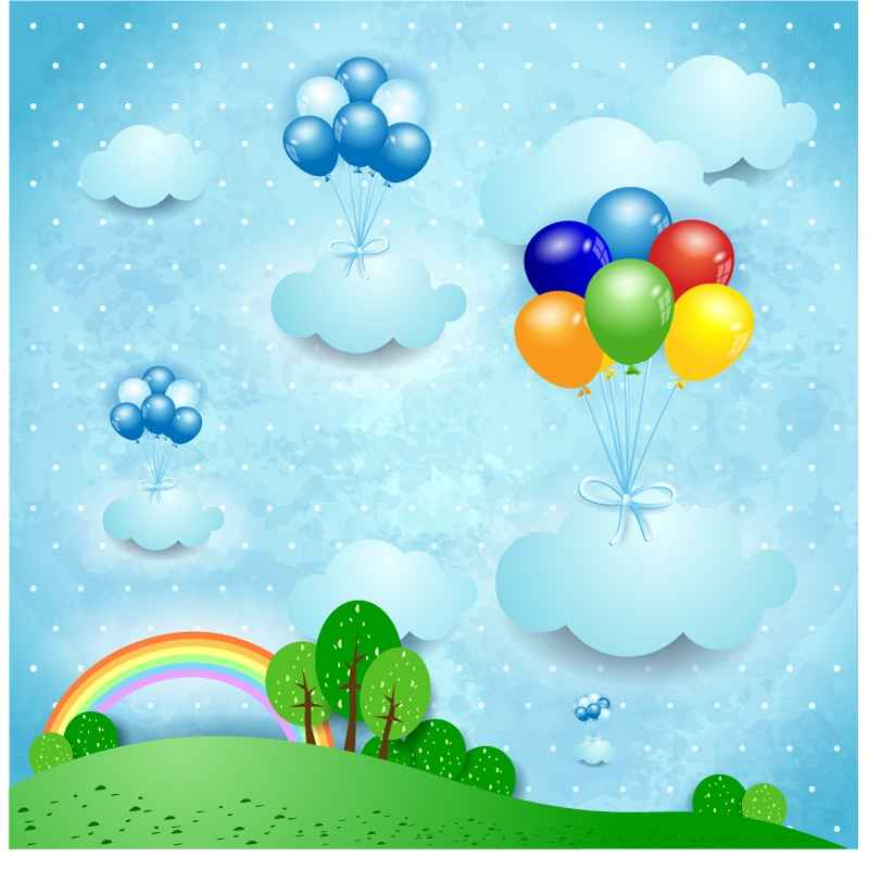 Colored balloons mark stickers Vector material