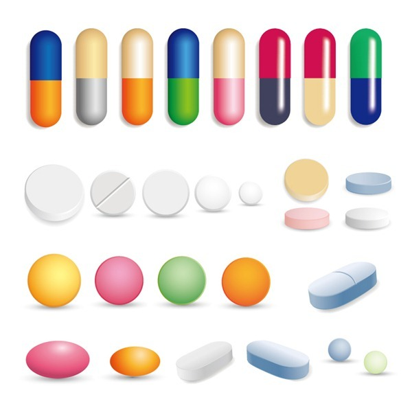 Colored capsules and tablets design vector graphics