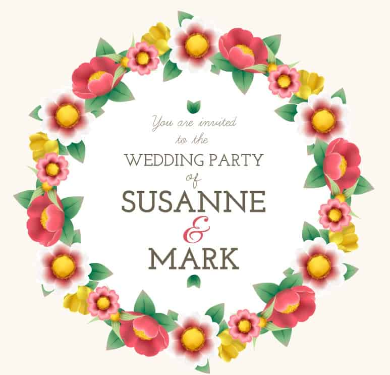 Colored garland wedding invitation poster
