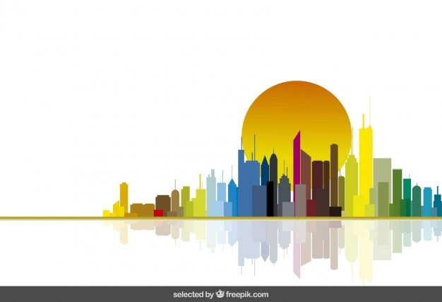Colorful city skyline ad