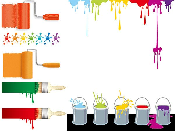 Colorful paint vector material