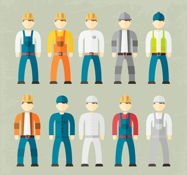 10 construction workers design vector graphics