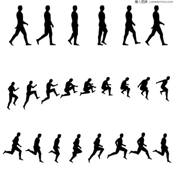 Continuous action sports figure silhouettes