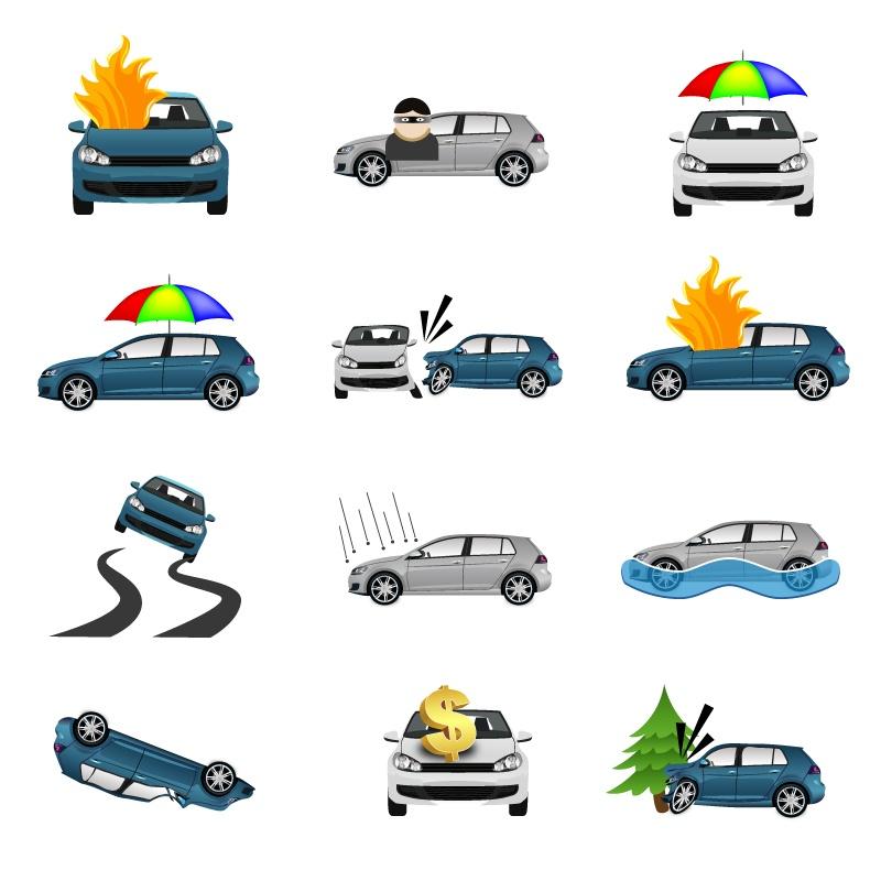 Creative car insurance icon vector material