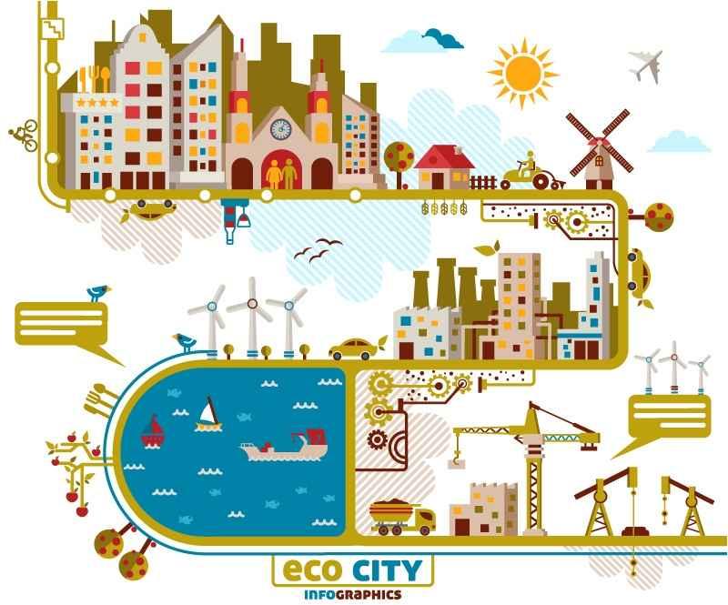 Creative City illustrator vector material landscape architecture