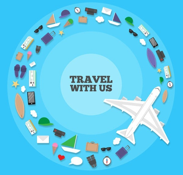 Creative combination of ring travel element vector graphics