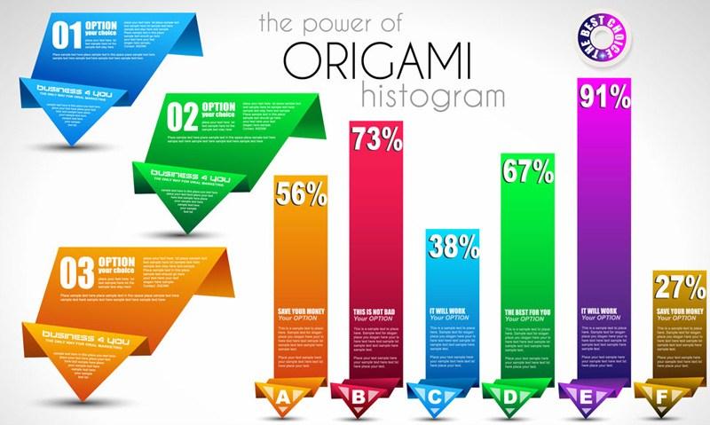 Creative design origami arrow vector material practical