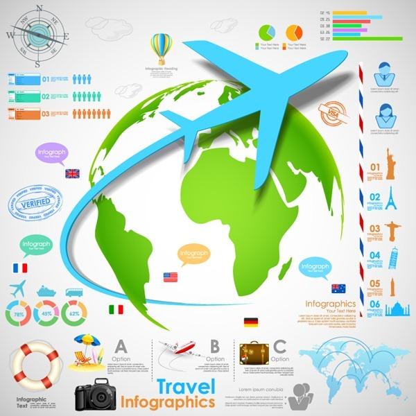 Creative Global travel information map vector graphics