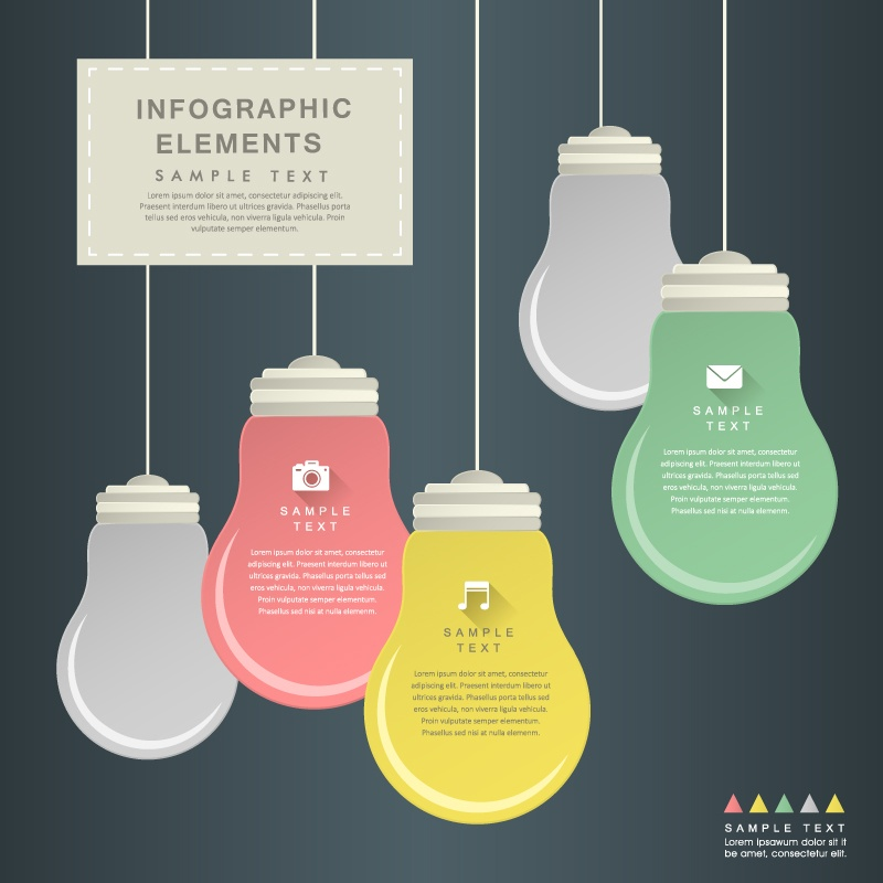Creative paper-cut vector material bulb infographic design