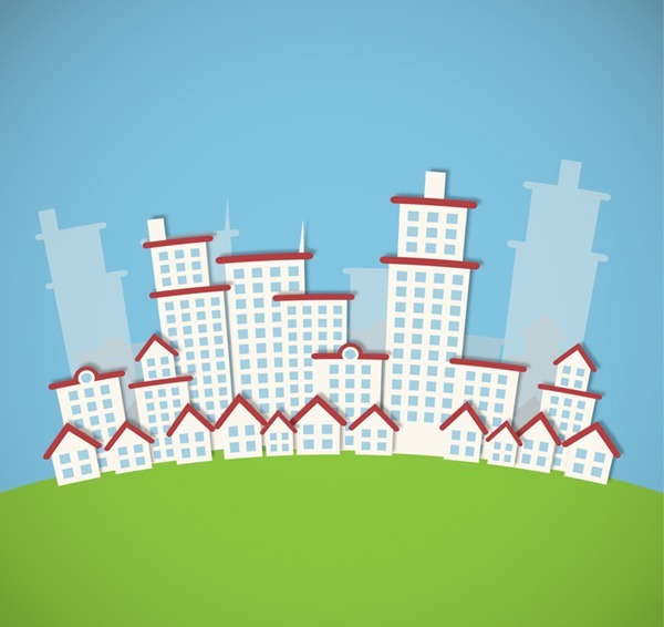 Creative white buildings clip art vector graphics