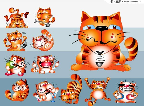 Cute cartoon cat vector material