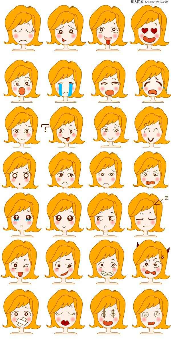 Cute girl picture expression vector material Vector cartoon