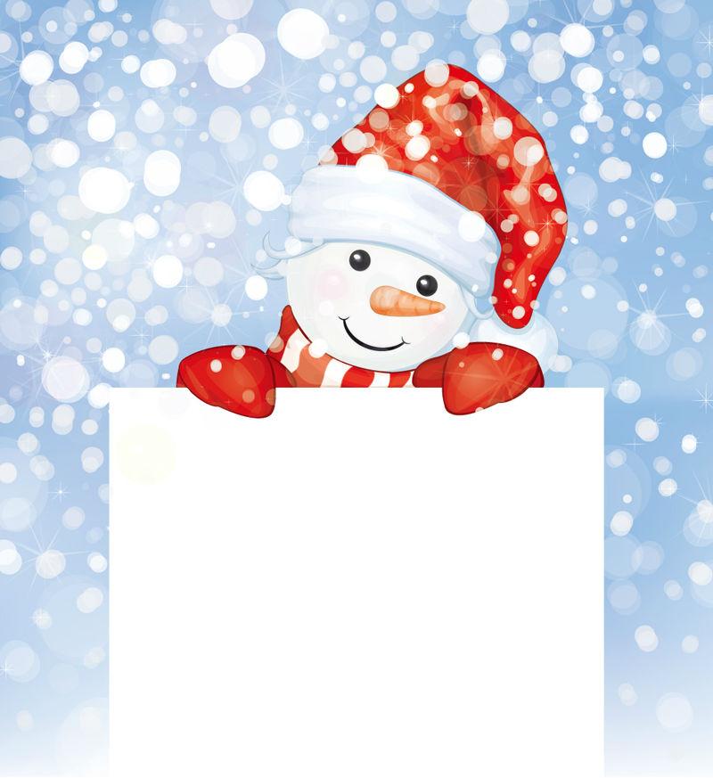 Cute snowman text vector cartoon background