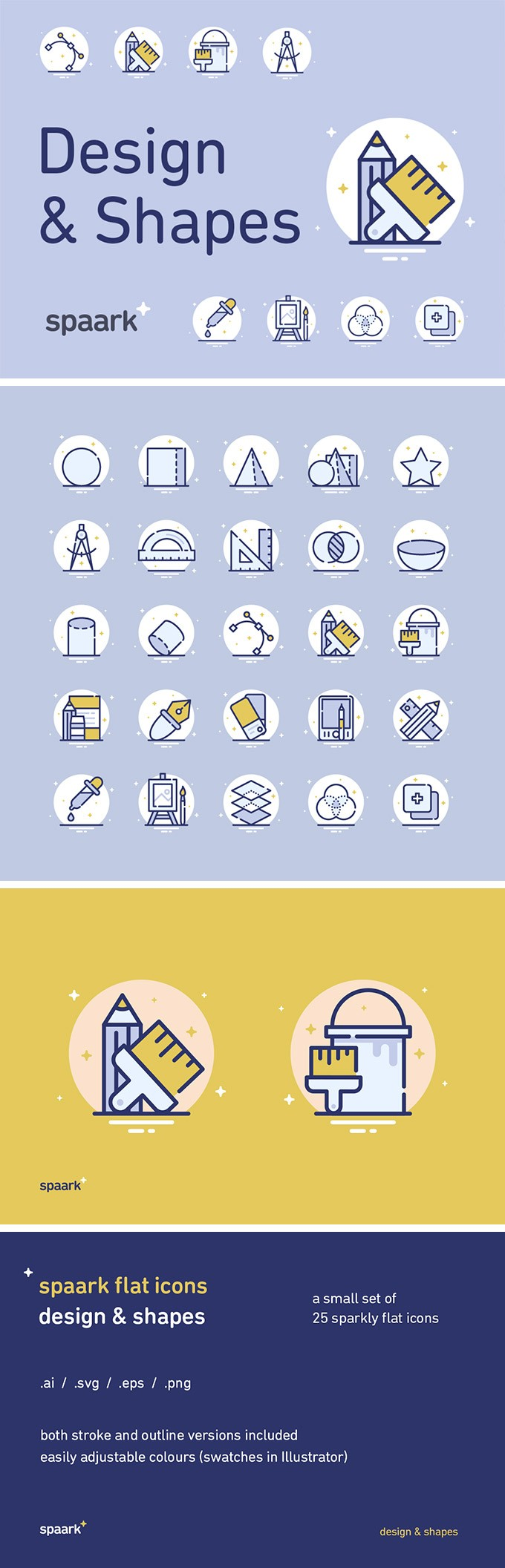 25 Design & Shapes Icons – download free