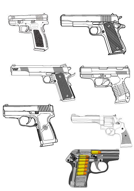 Military related Pistol vector material