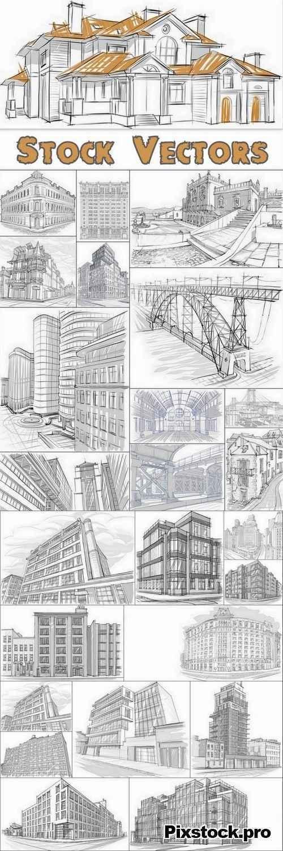 Drawings of buildings set #2 – 25 Eps