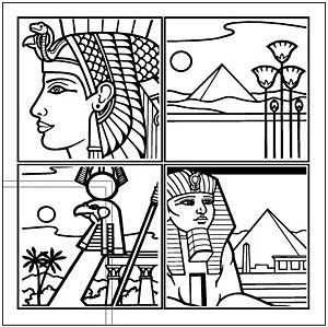 Egyptian Line Drawing 4 trellis vector material