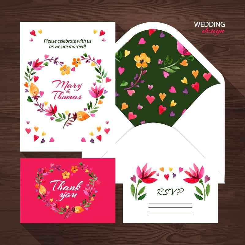 4 exquisite floral wedding card design vector