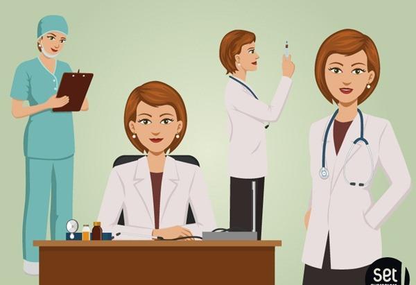4 female doctor cartoon design vector graphics