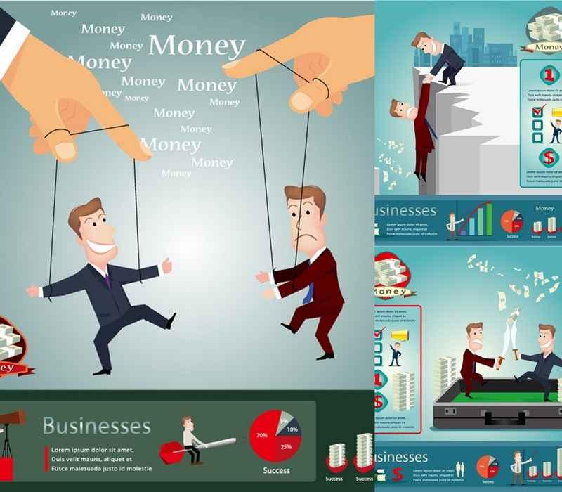 Financial business cartoon poster design vector material