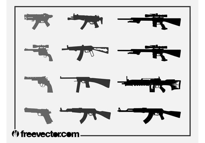 Firearms Silhouettes Set