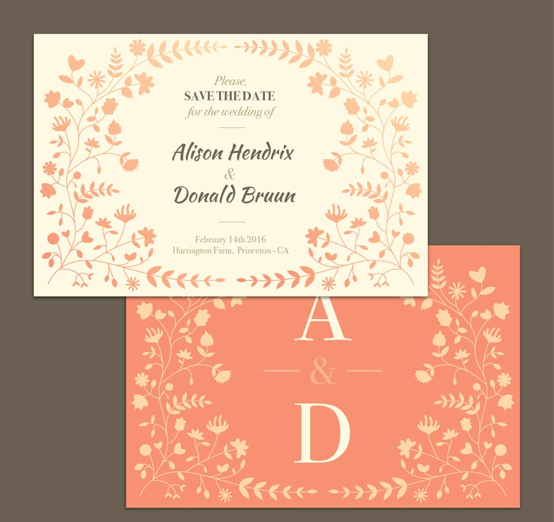 Floral decoration vector wedding invitation card front and back