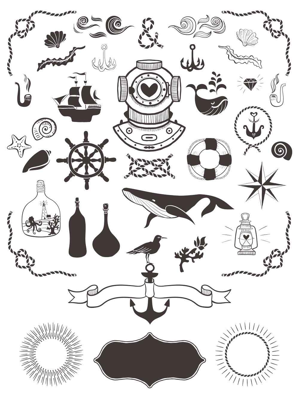 40+ Free Nautical Vector Elements – GraphicsFuel