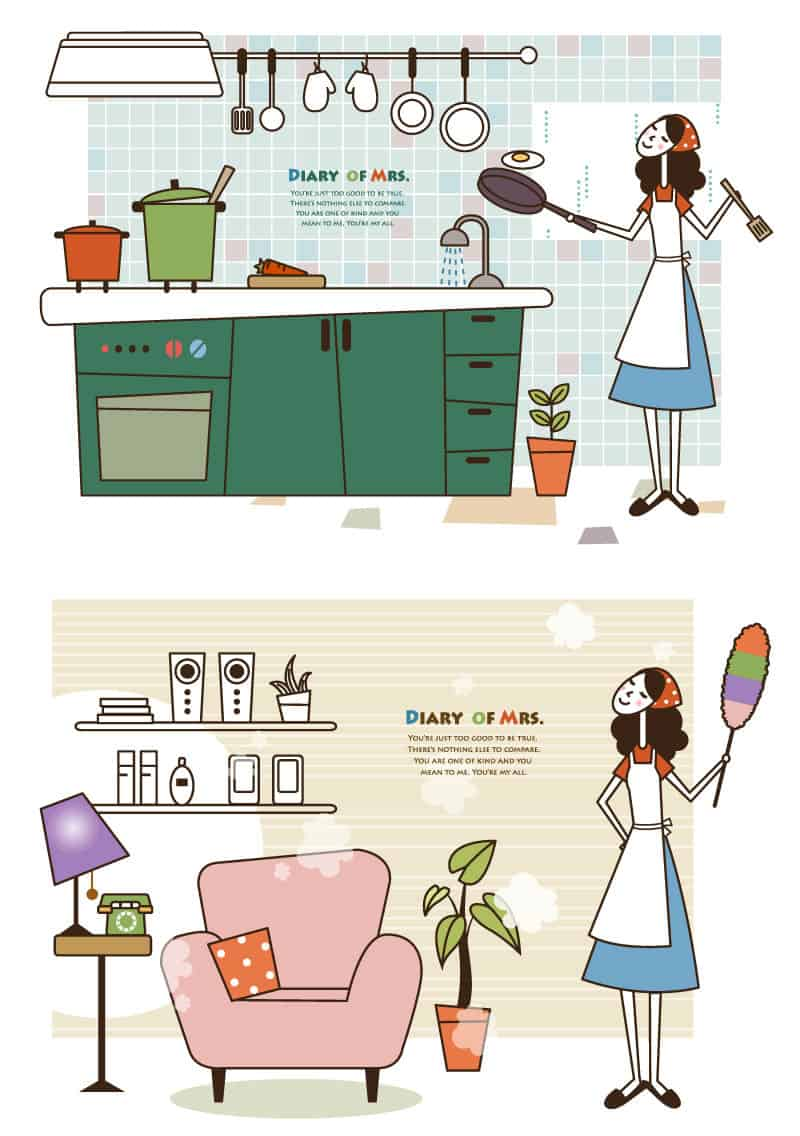 Fresh housewife illustrator vector material